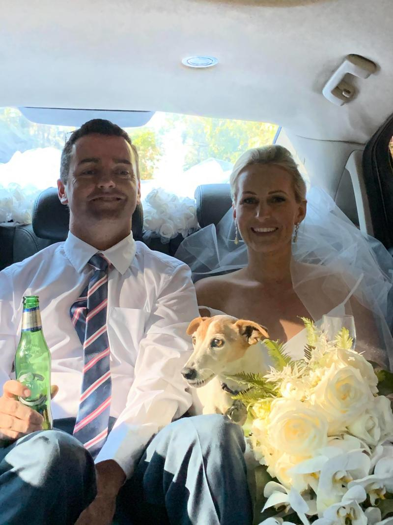 Pictured are Jim and Sandra Rice in the back of their car on their wedding day.
