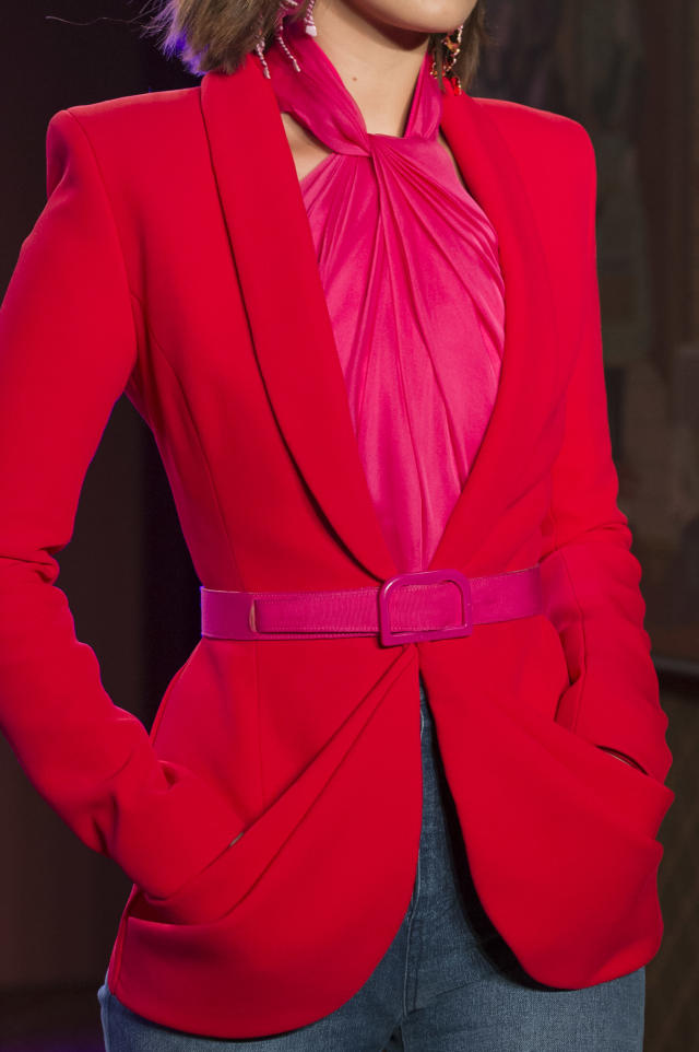 <p><i>Hot-pink skinny belt from the SS18 Brandon Maxwell collection. (Photo: ImaxTree) </i></p>