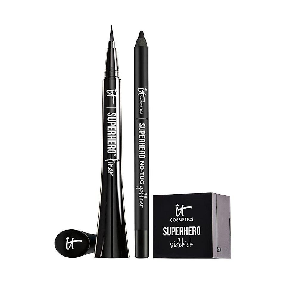 """<p><strong>It Cosmetics</strong></p><p>amazon.com</p><p><a href=""""https://www.amazon.com/dp/B08ZJXSRDP?tag=syn-yahoo-20&ascsubtag=%5Bartid%7C10051.g.36688891%5Bsrc%7Cyahoo-us"""" rel=""""nofollow noopener"""" target=""""_blank"""" data-ylk=""""slk:Shop Now"""" class=""""link rapid-noclick-resp"""">Shop Now</a></p><p><del>$55.00</del> $44.00 <strong>(20% off)</strong></p><p>All of IT Cosmetics' best-selling eye makeup products, wrapped up in a nice little bow. Most importantly, you'll get the Superhero No-Tug gel liquid eyeliner, which is a personal favorite of mine. </p>"""