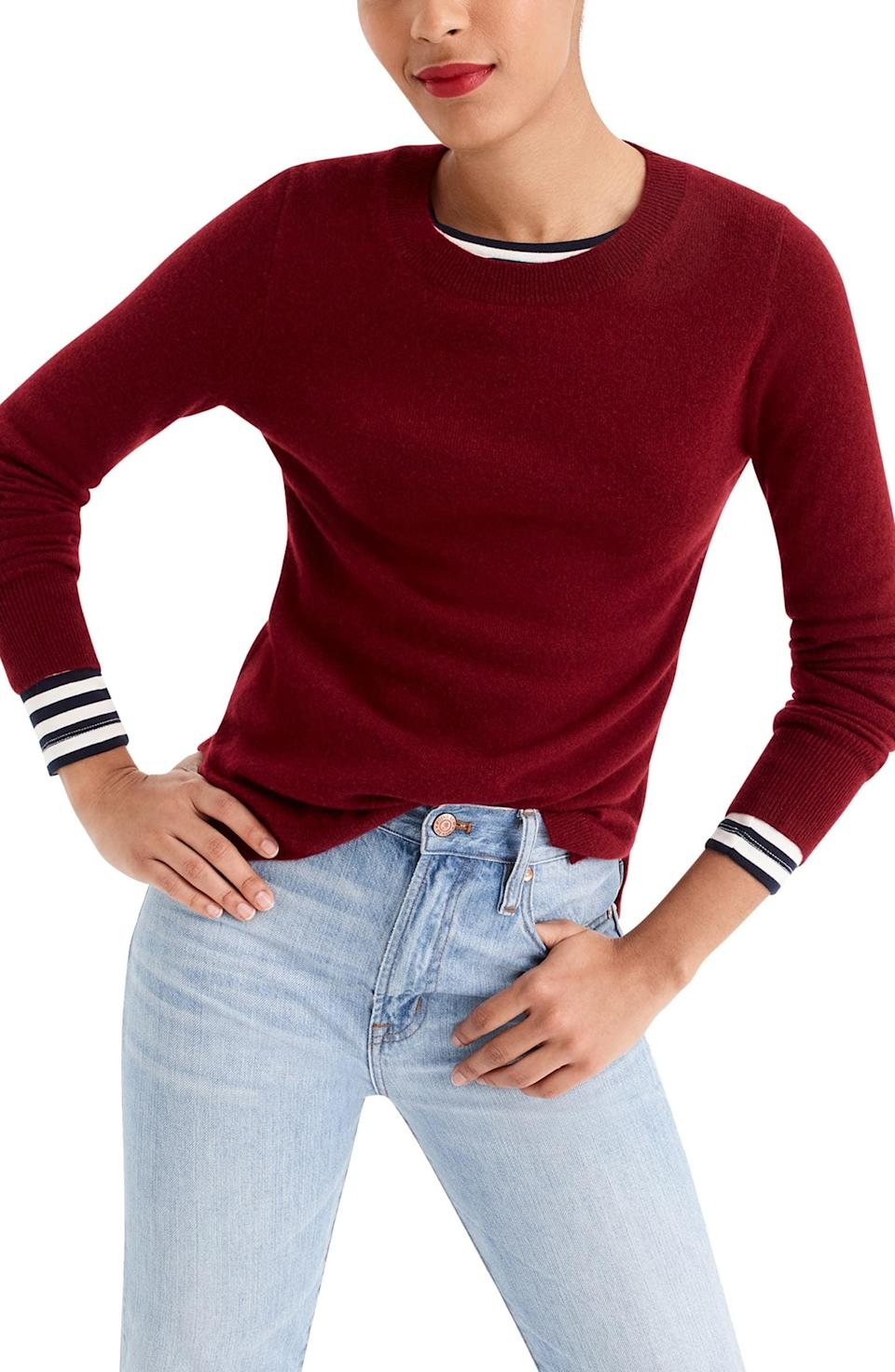 <p>This <span>J.Crew Crewneck Cashmere Sweater</span> ($98) is both cozy and luxurious. They'll love it.</p>