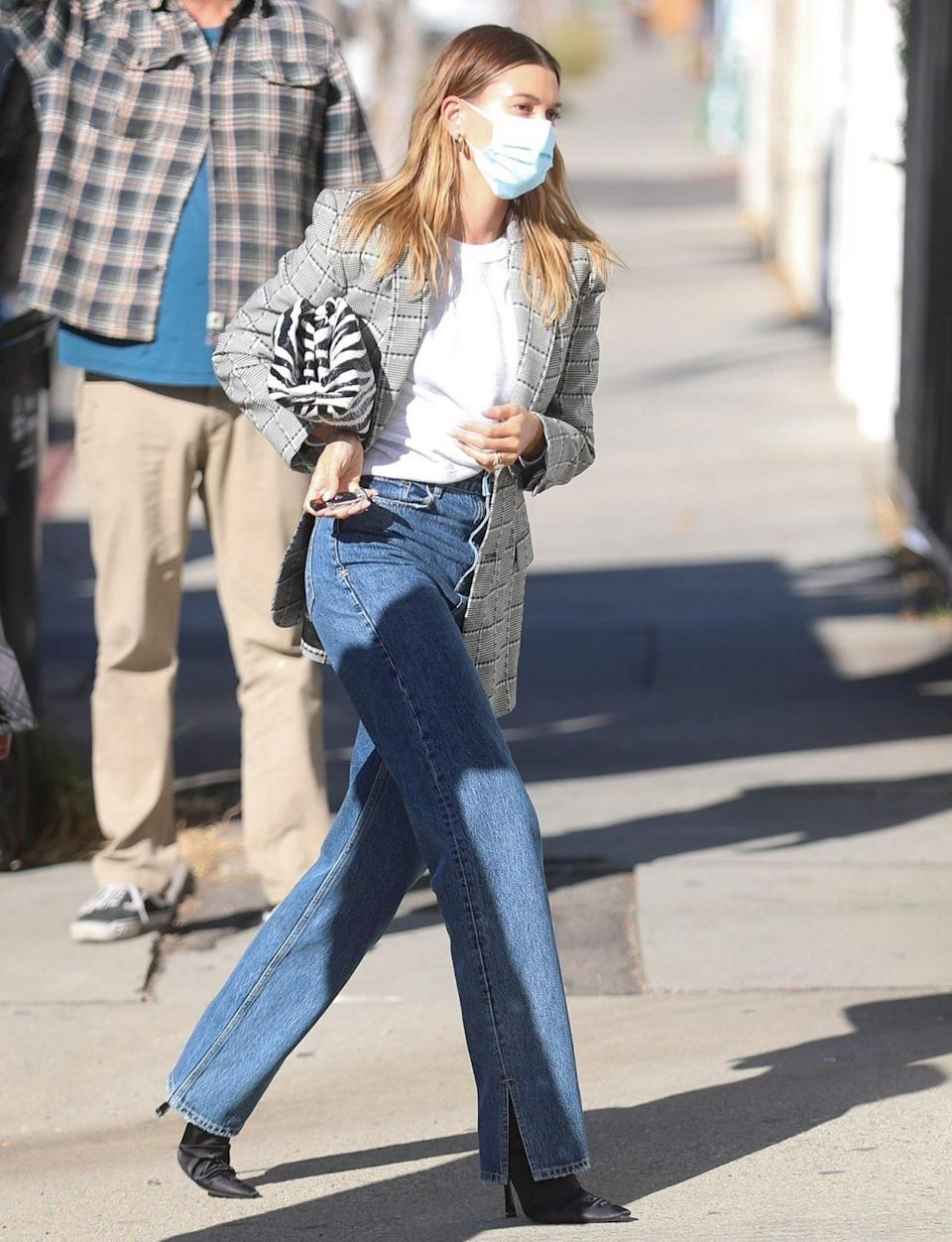 <p>Hailey Bieber is runway-ready on Tuesday while heading to a set in Los ANgeles. </p>