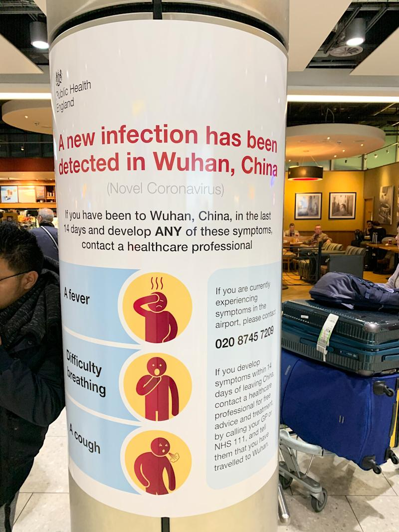Leaflets are being handed out at Heathrow Airport (Picture: SWNS)