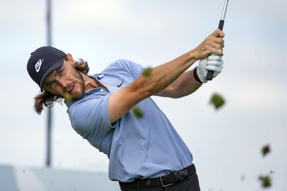 Tommy Fleetwood tees off on the fourth hole during the first round of the 3M Open golf tournament in Blaine, Minn., Thursday, July 23, 2020. (AP Photo/Andy Clayton- King)