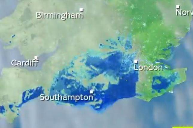 Satellite images taken by the Met Office show the mysterious 'cluster' travelling over southern England