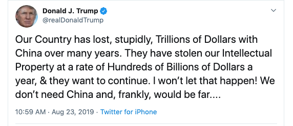 August 23, 2019 Tweet from President Donald Trump