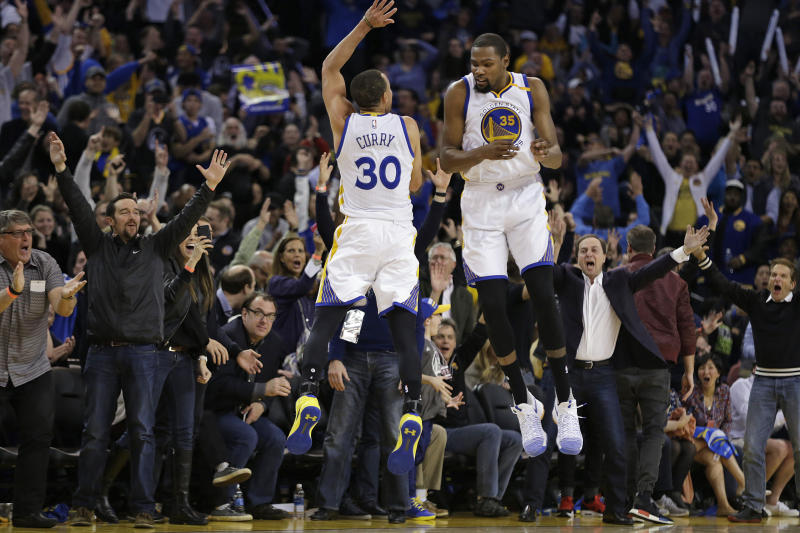 Stephen Curry and Kevin Durant may wear the same uniform, but they can\u0027t  agree on shoes. (AP)