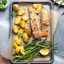 "<p>This spring-produce-packed one-pan meal makes a healthy and satisfying weeknight dinner. Melted garlic butter coats the salmon and vegetables, adding depth of flavor and richness to the dish. <a href=""http://www.eatingwell.com/recipe/280316/garlic-butter-roasted-salmon-with-potatoes-asparagus/"" rel=""nofollow noopener"" target=""_blank"" data-ylk=""slk:View recipe"" class=""link rapid-noclick-resp""> View recipe </a></p>"