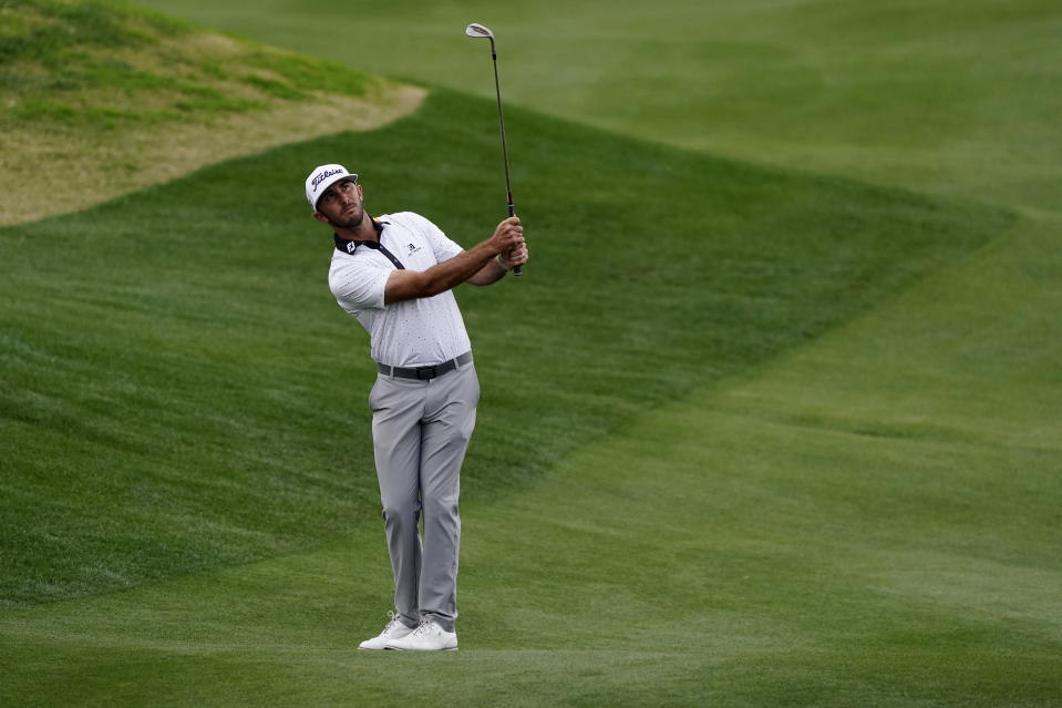 Max Homa hits to the 17th hole during the third round of The American Express golf tournament on the Pete Dye Stadium Course at PGA West, Saturday, Jan. 23, 2021, in La Quinta, Calif. (AP Photo/Marcio Jose Sanchez)