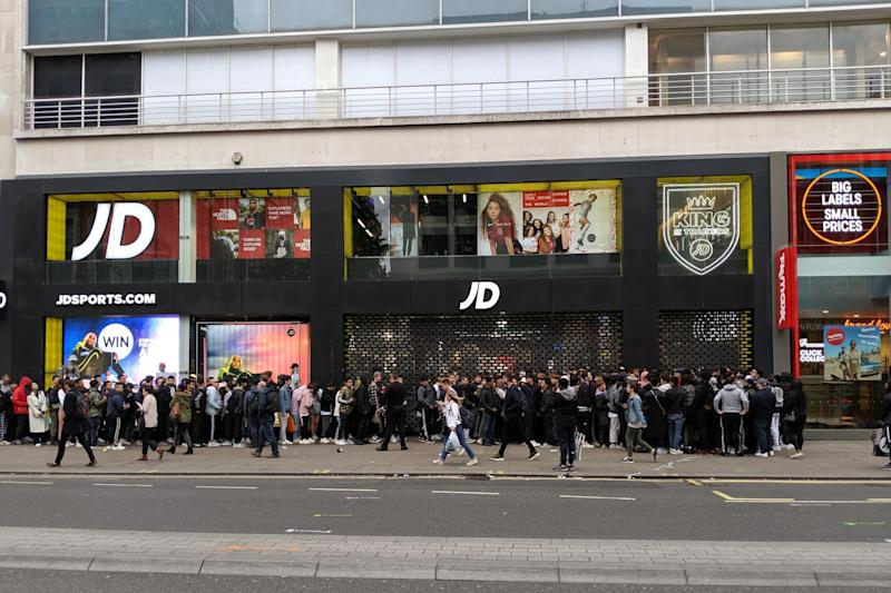 Queues outside JD Sports in London on Friday morning: Shezi Manezi