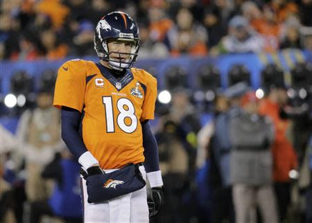 Denver Broncos quarterback Peyton Manning reacts after an incomplete pass during the third quarter against the Seattle Seahawks in the NFL Super Bowl XLVIII in East Rutherford