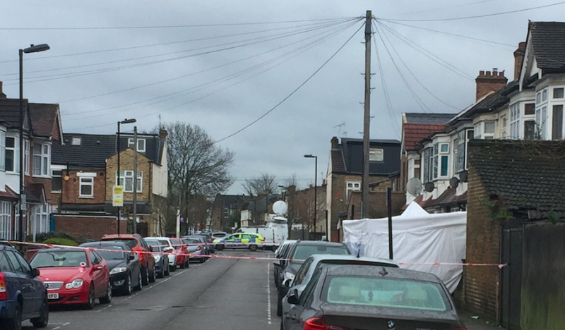 A police tent in Chalgrove Road, in Tottenham, north London, where the teenage girl was shot dead (Picture: PA)