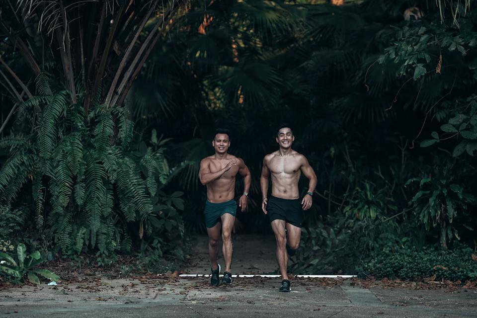 Joseph (left) and Brandon work out regular in gyms, and also go for runs.