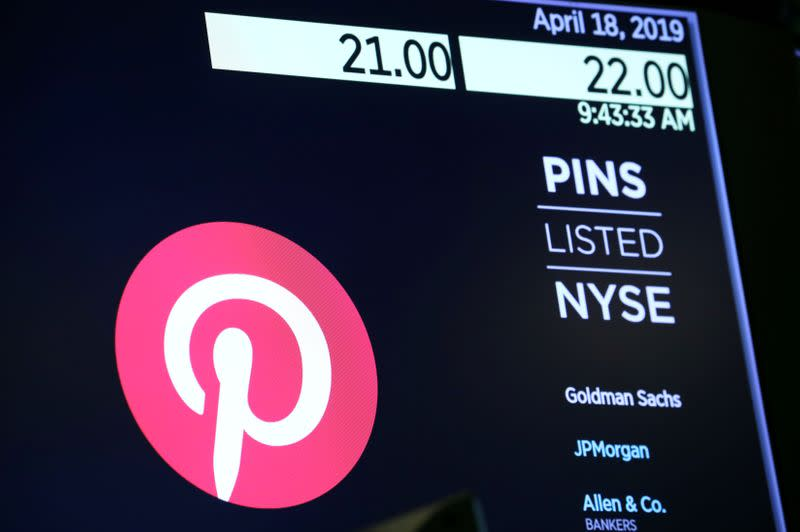 FILE PHOTO: The company logo for Pinterest, Inc. with trading information is displayed on a screen at the NYSE in New York