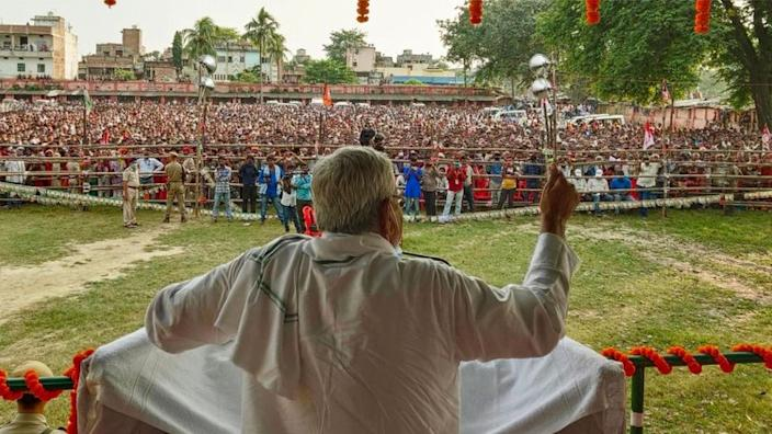 Bihar Chief Minister Nitish Kumar addresses an election campaign rally ahead of Bihar Assembly election on October 22, 2020 in Hasanpur, India.