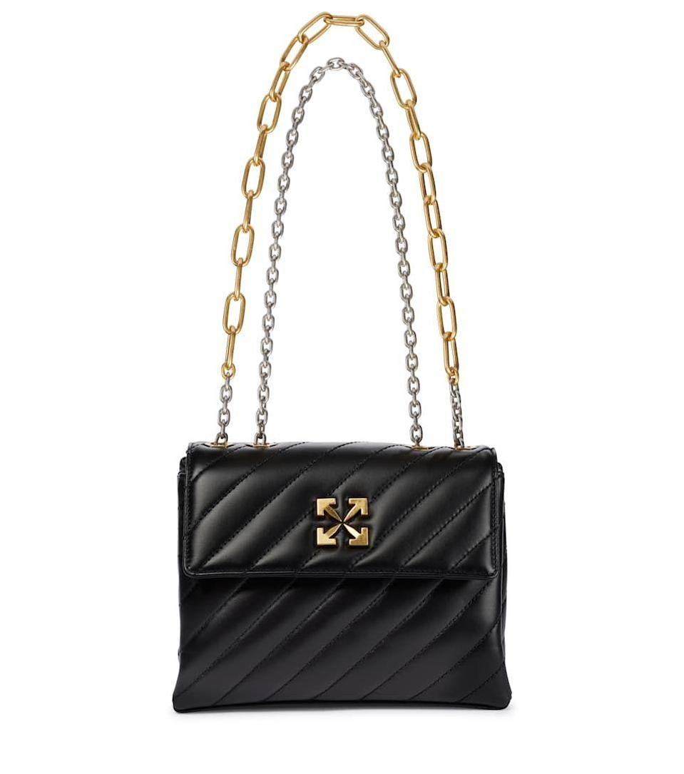 """<p><a class=""""link rapid-noclick-resp"""" href=""""https://go.redirectingat.com?id=127X1599956&url=https%3A%2F%2Fwww.mytheresa.com%2Fen-gb%2Foff-white-jackhammer-quilted-shoulder-bag-1835611.html&sref=https%3A%2F%2Fwww.harpersbazaar.com%2Fuk%2Ffashion%2Fg28897412%2Fwork-bags-women%2F"""" rel=""""nofollow noopener"""" target=""""_blank"""" data-ylk=""""slk:SHOP NOW"""">SHOP NOW</a></p><p>The best desk-to-dinner bags don't sacrifice practicality for style. Off-White's is low-key thanks to its quilted black leather and classic shape, but the double chain handle and industrial gold-tone logo add just a hint of attitude for after hours.</p><p>Jackhammer 24 leather shoulder bag, £ 1,294, <a href=""""https://go.redirectingat.com?id=127X1599956&url=https%3A%2F%2Fwww.mytheresa.com%2Fen-gb%2Foff-white-jackhammer-quilted-shoulder-bag-1835611.html&sref=https%3A%2F%2Fwww.harpersbazaar.com%2Fuk%2Ffashion%2Fg28897412%2Fwork-bags-women%2F"""" rel=""""nofollow noopener"""" target=""""_blank"""" data-ylk=""""slk:Off-White"""" class=""""link rapid-noclick-resp"""">Off-White</a></p>"""