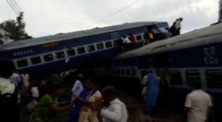 Train derails in India, killing about 20 and injuring scores more
