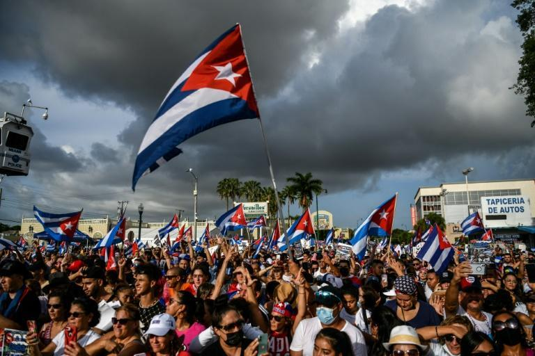 People in Miami, Florida protest to show support for Cubans demonstrating against their government