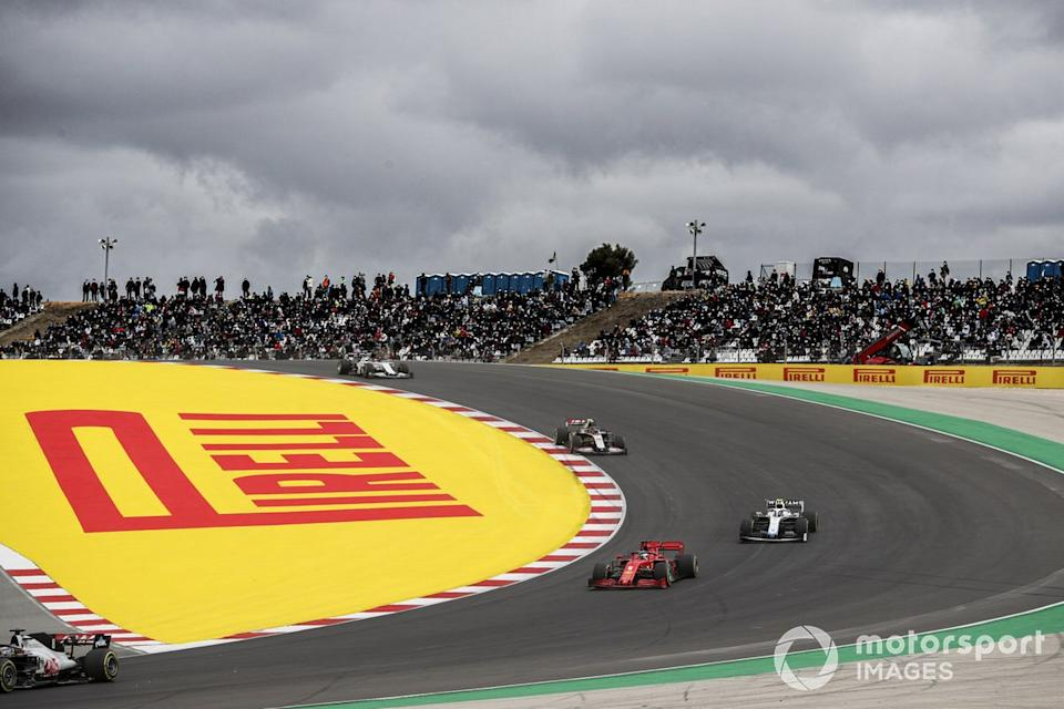 "Romain Grosjean, Haas VF-20, Sebastian Vettel, Ferrari SF1000, Nicholas Latifi, Williams FW43, and Kevin Magnussen, Haas VF-20<span class=""copyright"">Charles Coates / Motorsport Images</span>"