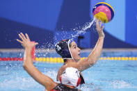 <p>Rachel Fattal of Team United States in action during the Women's Quarterfinal match between Canada and the United States on day eleven of the Tokyo 2020 Olympic Games at Tatsumi Water Polo Centre on August 03, 2021 in Tokyo, Japan. (Photo by Harry How/Getty Images)</p>