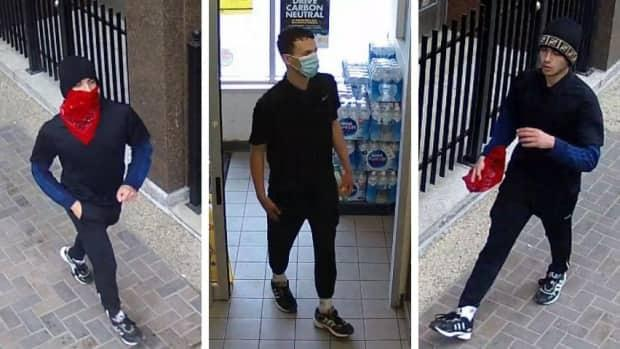 Police are looking for this man in connection with a string of armed robberies of people on downtown streets last week. (Calgary Police Service - image credit)