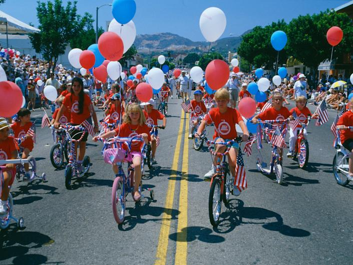Kids riding bicycles at an Independence Day Parade, July 4, 1989.