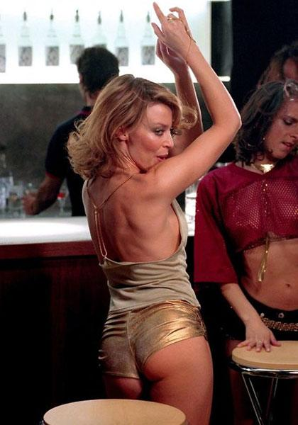 <b>Kylie in the Spinning Around music video, 2000</b><br><br>Arguably the most iconic Kylie image of all time, she revealed her perky rear in this famous pair of gold hotpants for the video for her hit single Spinning Around to kick off the new millennium.