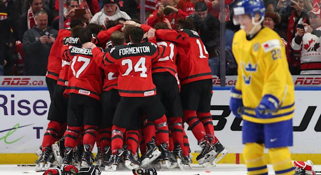 Canada reclaimed gold at the World Junior Hockey Championship on late winner from Tyler Steenbergen. (Photo by Kevin Hoffman/Getty Images)