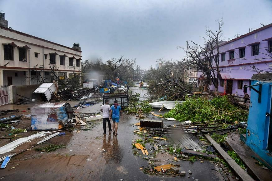 A view of the destruction caused by Cyclone Fani after its landfall, in Puri. (Image: PTI)