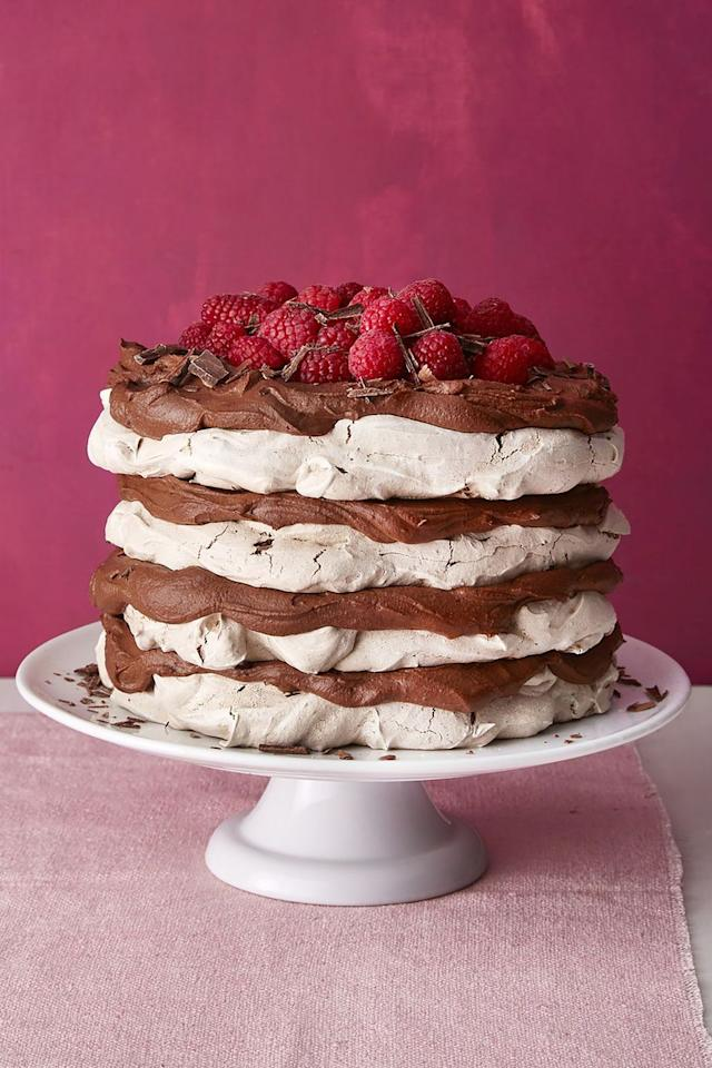 "<p>Mom won't be able to resist this decadent meringue layer cake that's filled with chocolate mousse and topped with fresh raspberries. </p><p><strong><a rel=""nofollow"" href=""https://www.womansday.com/food-recipes/food-drinks/a19124220/chocolate-meringue-layer-cake-recipe/"">Get the recipe.</a></strong></p>"