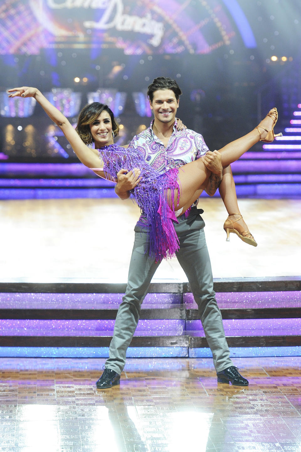 BIRMINGHAM, ENGLAND - JANUARY 21:  Anita Rani (L) and Gleb Savchenko perform during the Strictly Come Dancing Live Tour rehearsals, Strictly Come Dancing Live Tour opens tomorrow, 22nd January at the Barclaycard Arena in Birmingham and then tours the UK until 14th February, at Barclaycard Arena on January 21, 2016 in Birmingham, England.  (Photo by Dave J Hogan/Dave J Hogan/Getty Images)