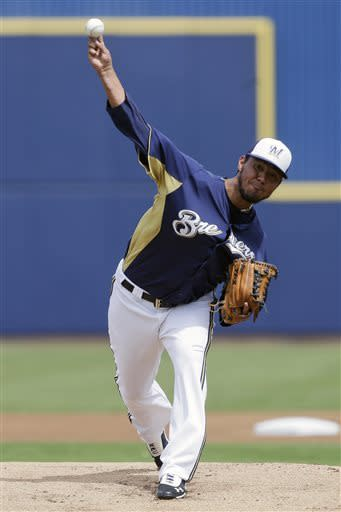 Milwaukee Brewers starting pitcher Yovani Gallardo throws against the Kansas City Royals during the first inning of a spring training baseball game in Phoenix, Wednesday, March 27, 2013. (AP Photo/Chris Carlson)