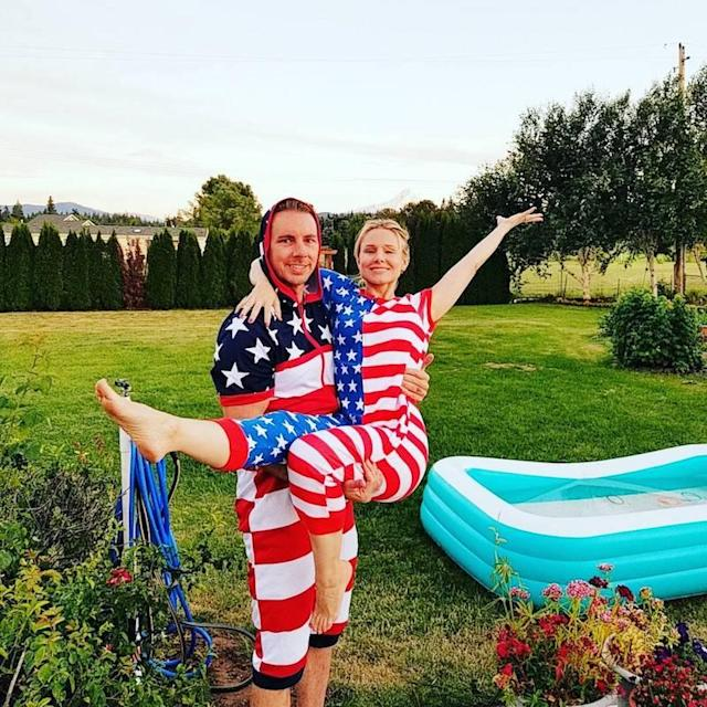 "<p>Why are we not surprised that Dax Shepard and Kristen Bell have star-spangled onesies? The couple celebrated the holiday in Washington with an inflatable pool, naturally. ""On behalf of Mt Hood, KB and myself, Happy 4th of July!"" Shepard shared. (Photo: <a href=""https://www.instagram.com/p/BWIOO3IDrZC/?taken-by=daxshepard&hl=en"" rel=""nofollow noopener"" target=""_blank"" data-ylk=""slk:Kristen Bell via Instagram"" class=""link rapid-noclick-resp"">Kristen Bell via Instagram</a>) </p>"