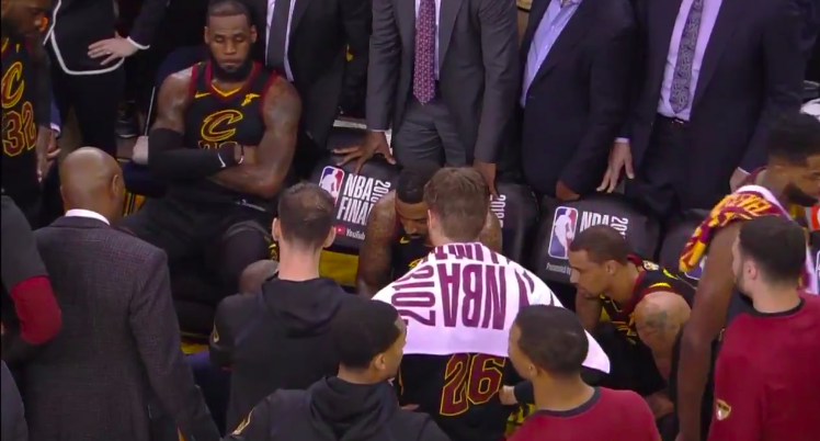 b308d8bb37d2 Incredible footage shows LeBron James  reaction after J.R. Smith ...