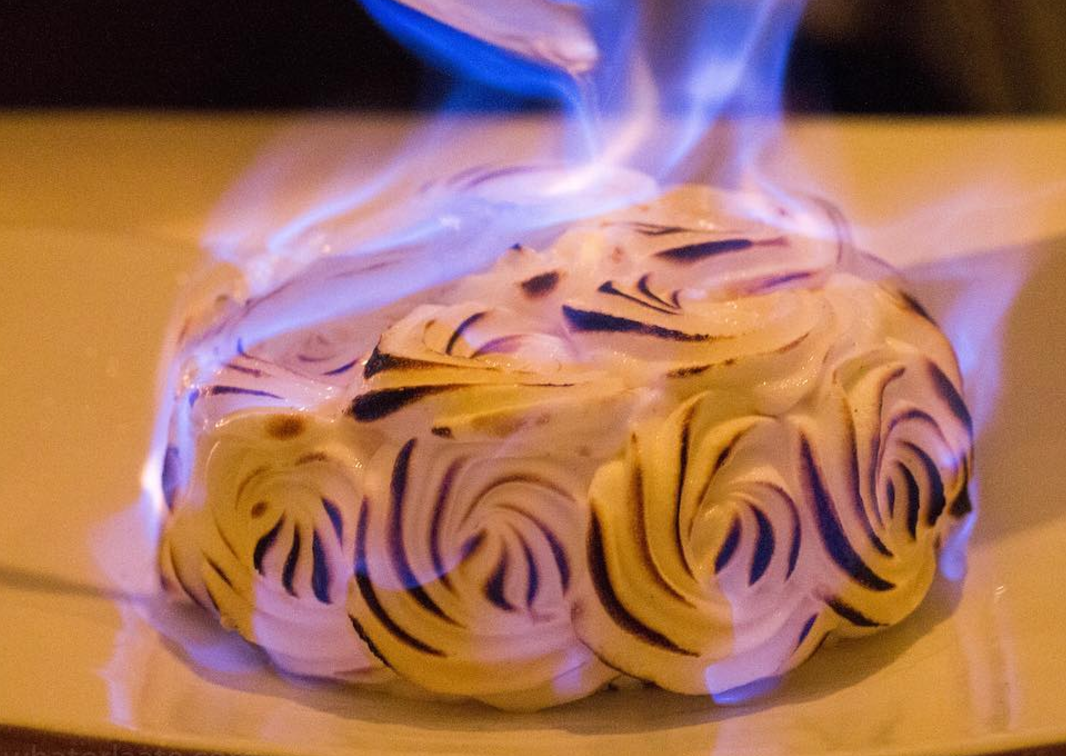 """<p>If you still want the flames without the Christmas pud, how about Baked Alaska? Especially if you make a proper Christmassy-tasting ice cream to go inside, like <a rel=""""nofollow"""" href=""""http://www.mademoisellepoirot.com/blog/christmas-baked-alaska"""">this recipe from Mademoiselle Poirot</a>. [Photo: Instagram/whatorlaate] </p>"""
