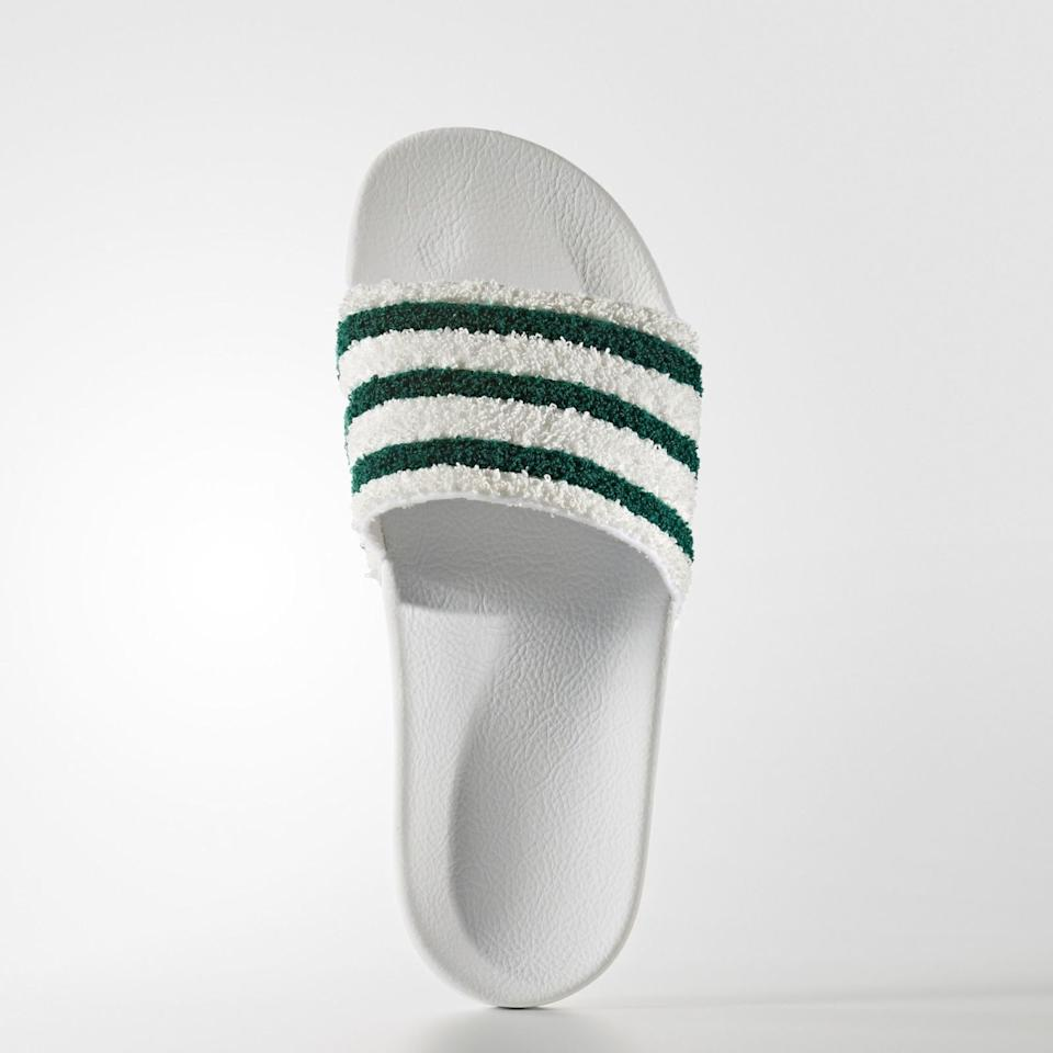 "<p>Men's Originals Adilette Slides, $45, <a rel=""nofollow"" href=""http://www.adidas.com/us/adilette-slides/BB0124.html"">adidas.com</a>.<span></span></p>"