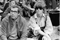 <p>Jane Fonda and her then-husband, French screenwriter Roger Vadim, attend the International Pop and Rock Festival of the Isle of Wight.</p>