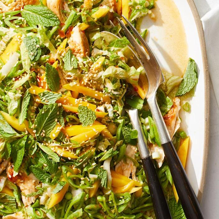 <p>This Asian-inspired dinner salad has terrific crunch, thanks to sugar snap peas and napa cabbage. Give the dressing a kick of heat by adding a bit of sambal oelek, an Indonesian hot sauce that you can find in most large supermarkets and Asian grocery stores.</p>