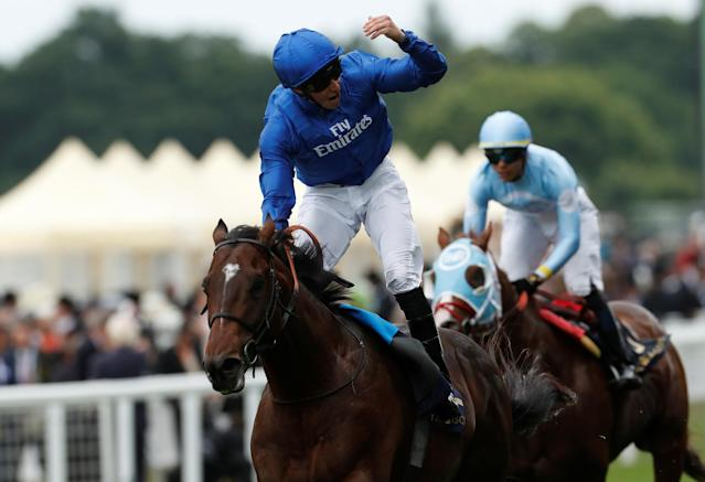 Horse Racing - Royal Ascot - Ascot Racecourse, Ascot, Britain - June 19, 2018 William Buick on Blue Point celebrates winning the 3:40 King's Stand Stakes REUTERS/Andrew Boyers