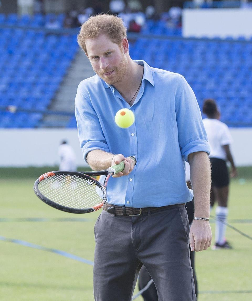 <p>Prince Harry working on his form at the Sir Vivian Richards Stadium.</p>
