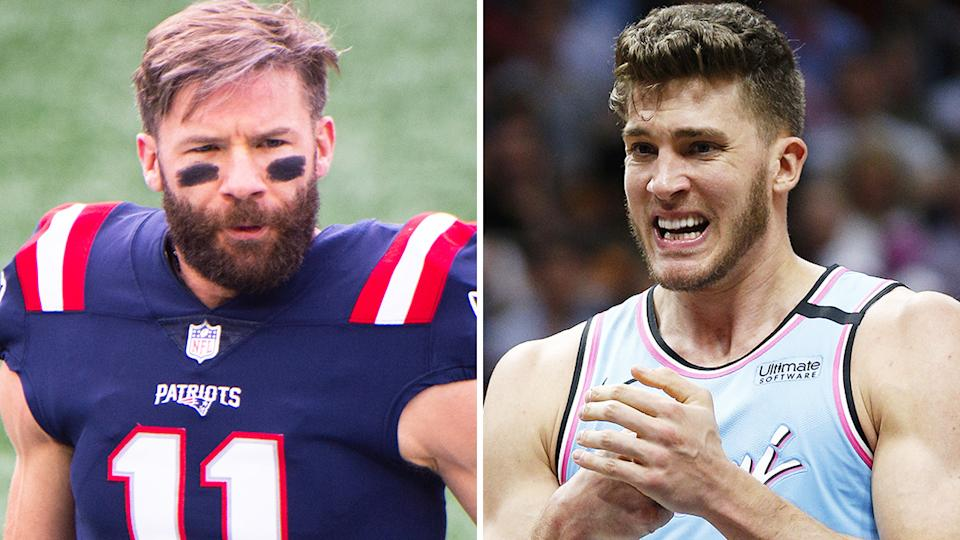 New England Patriots player Julian Edelman, who is Jewish, has offered to explain to NBA counterpart Meyers Leonard exactly why his use of an anti-semitic slur is so damaging. Pictures: Getty Images