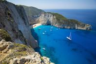 "<p>Shipwreck Beach, located on Zakynthos Island, Greece // August 5, 2016</p><p><strong>RELATED: </strong><a href=""https://www.redbookmag.com/life/news/g4577/fall-getaway-travel-deals/"" rel=""nofollow noopener"" target=""_blank"" data-ylk=""slk:The 10 Best Places to Travel in America This Fall Under $300"" class=""link rapid-noclick-resp""><strong>The 10 Best Places to Travel in America This Fall Under $300</strong></a></p>"