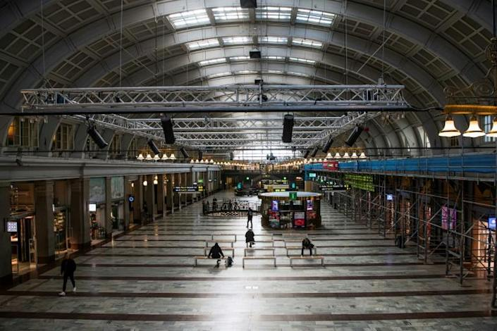 The central station in Stockholm was quiet (AFP Photo/Jonathan NACKSTRAND)