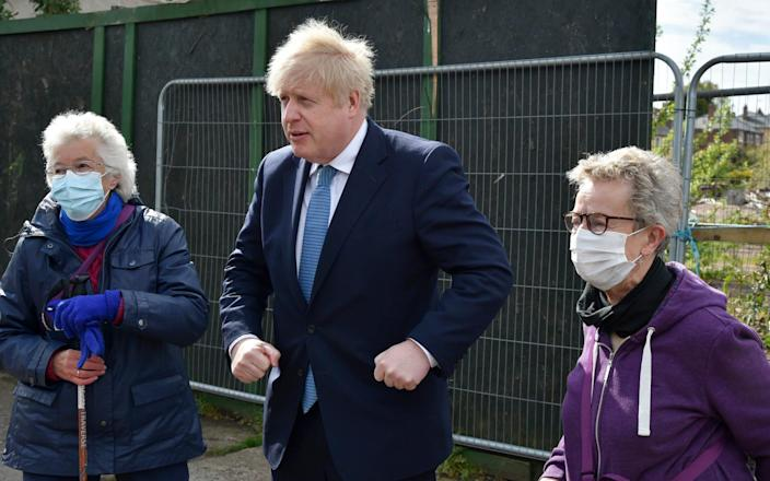 Meeting the locals: Boris Johnson gets out and about in the West Midlands - AP
