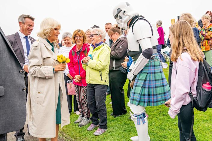 <p>Camilla, Duchess of Cornwall, has quite the run-in on Sept. 10 at the opening of the Team Hamish Splashpad in Nairn, Scotland.</p>