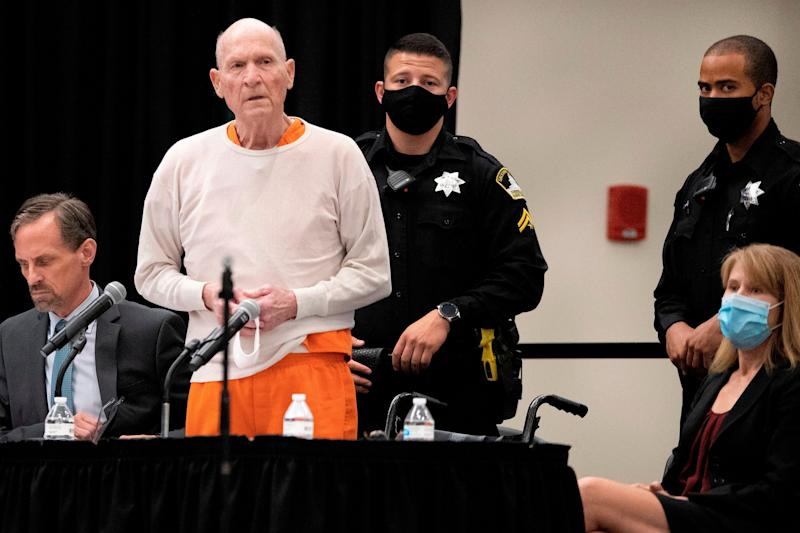 """Joseph James DeAngelo, Jr., (C) speaks at his sentencing hearing held in Sacramento, California, on August 21, 2020. - DeAngelo, a former policeman dubbed the """"Golden State Killer,"""" apologized to his victims as he was handed multiple life sentences for a brutal decade-long crime spree that terrorized California. DeAngelo, 74, who confessed to 13 murders and dozens of rapes in the 1970s and 1980s under a deal to avoid the death penalty, sat impassively behind a face mask in the Sacramento courtroom as his sadistic crimes were listed. (Photo by Santiago Mejia / POOL / AFP) (Photo by SANTIAGO MEJIA/POOL/AFP via Getty Images) (Photo: SANTIAGO MEJIA via Getty Images)"""