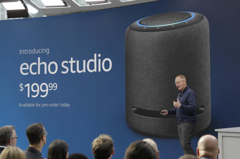Dave Limp, senior vice president for Amazon devices & services, talks about the new Amazon Echo Studio speaker, Wednesday, Sept. 25, 2019, at an event in Seattle to unveil new products that work with the company's Alexa smart devices line. (AP Photo/Ted S. Warren)