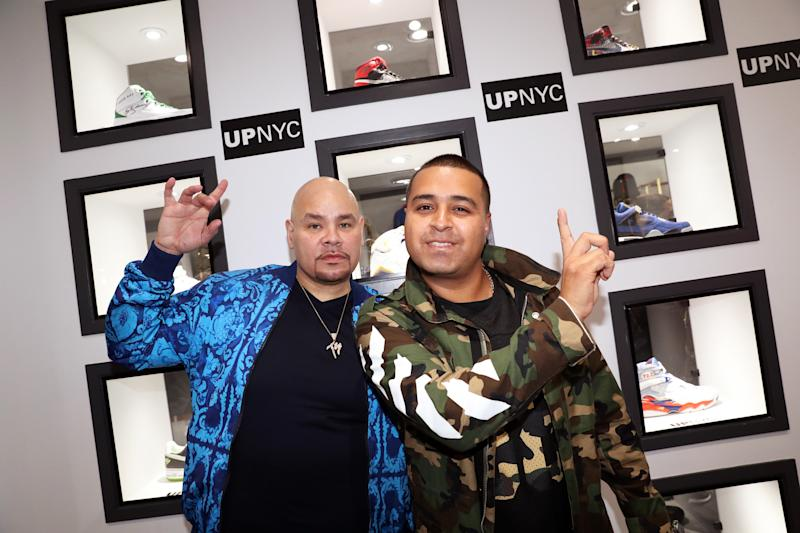 NEW YORK, NY - NOVEMBER 05: (L-R) Fat Joe and DJ Camilo attend The Grand Opening Of Fat Joe's Sneaker Boutique and Gallery at UPNYC on November 5, 2016 in New York City. (Photo by Johnny Nunez/WireImage)
