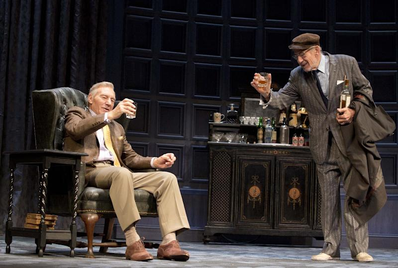 """This photo provided by Boneau/Bryan-Brown shows Patrick Stewart, left, and Ian McKellen, in Harold Pinter's play """"No Man's Land,"""" directed by Sean Mathias at Broadway's Cort Theatre in New York. (AP Photo/Boneau/Bryan-Brown, Copyright Joan Marcus)"""
