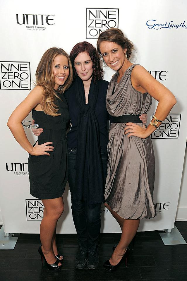 """Nine Zero One co-owners Nikki Lee and Riawna Capri popped a pose with Rumer Willis, one of the many celebs whose tresses they've tended to over the years. Others include Rumer's mom Demi Moore, Britney Spears, and Miley Cyrus. Jordan Strauss/<a href=""""http://www.wireimage.com"""" target=""""new"""">WireImage.com</a> - February 22, 2010"""