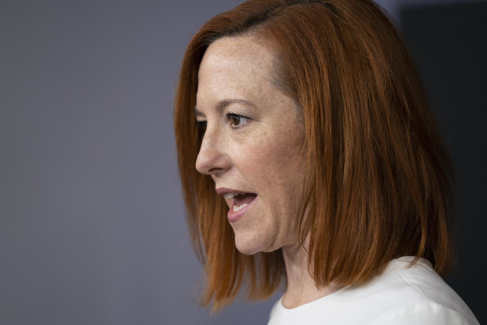 White House press secretary Jen Psaki speaks during a press briefing at the White House, Tuesday, Feb. 23, 2021, in Washington. (AP Photo/Evan Vucci)